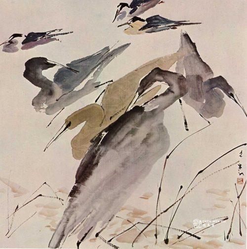 Bathing Birds by Chen Wen Hsi